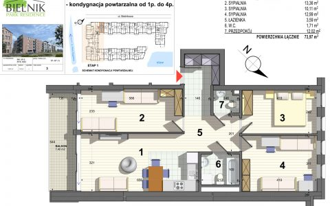 Bielnik - mieszkania przy parku, etap 1, mieszkanie nr 6